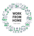 work from home circle frame poster with line icons vector image vector image