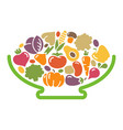 stylized image of a bowl of vegetables vector image