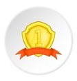 Golden shield for first place icon cartoon style vector image