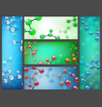abstract molecules banners science cell research vector image vector image