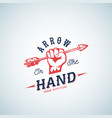 arrow in hand abstract logo template vector image