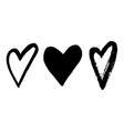 black hand drawn hearts on white background vector image
