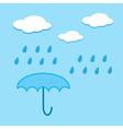 Blue umbrella and raindrops vector image