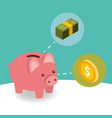 business piggy bank coin and pile banknote money vector image vector image
