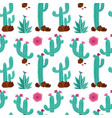 Cactus hand drawn seamless pattern hand