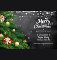 christmas greeting card with tree and bokeh vector image