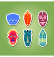 color icon set with african ritual masks vector image vector image