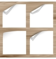 Curled corner on wooden planks background vector image