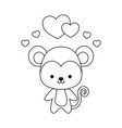 cute monkey animal with hearts love vector image vector image