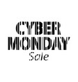cyber monday inscription bar code style vector image