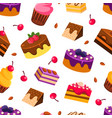 delicious desserts seamless pattern with tasty vector image