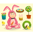 Easter bunny costume boy with cartoon isolated vector image