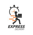 express delivery icon concept delivery man with vector image