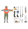fisherman with fish in hands and tackle sketch vector image