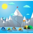 Flag On The Mountain Peak Goal Achievement Flat vector image