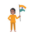 flat indian boy kid standing holding national flag vector image