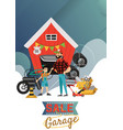 garage sale man and boy sell used car parts vector image vector image