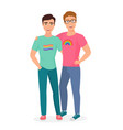 gay couple posing and hugging together two vector image vector image