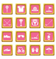 golf icons set pink square vector image vector image