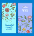 hand drawn flowers web banner templates vector image
