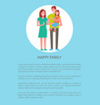 happy family mother father and son isolated circle vector image