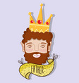 Happy father with crown and beard vector image