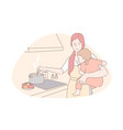 happy motherhood babysitting housework concept vector image vector image