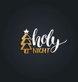holy night lettering design on black vector image