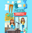 housecleaning and washing windows service vector image vector image