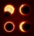 incomplete and total solar eclipseon on a black vector image