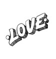 love word drawn by hand vector image vector image