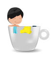 Man Cartoon Relax Cup Idea vector image vector image
