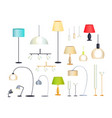 modern indoor floor lamps and chandeliers set vector image vector image