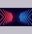 neon light arrow direction in perspective vector image vector image