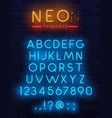 neon type font glowing alphabet letters vector image vector image