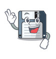 okay floppy disk isolated with a mascot vector image vector image