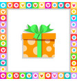 orange gift box wrapped with festive bow framed vector image vector image