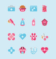 pet shop grooming food vet care icons set vector image