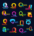 q letter corporate identity business font icons vector image vector image