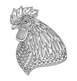 rooster head adult anti stress coloring page vector image vector image