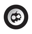 round black white button icon - halloween pumpkin vector image