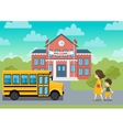 School building and yeollow bus schoolchild vector image vector image