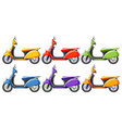 Scooters in six different colors vector image vector image
