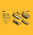 sea freight transport company web banner vector image vector image
