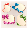 Set of beautiful cards with colorful gift bows vector | Price: 1 Credit (USD $1)
