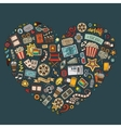 Set of Cinema cartoon doodle objects vector image vector image