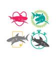 shark love leaf stopwatch paper logo design set vector image vector image