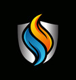 shield water flame logo vector image vector image