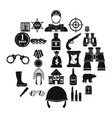 shot icons set simple style vector image vector image