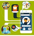Smartphone with social and media application icons vector image